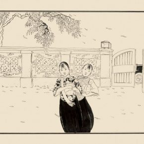 Zhang Guangyu, The Fashion Girls and Red Leaves, 30.5×48.5cm, line drawing on paper, 1925