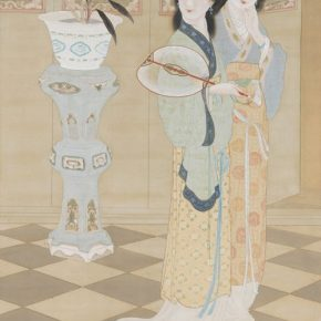 Zheng Jin, Beautiful Women, ink and color on silk, 201x109.8cm, in the collection of the National Palace Museum in Taipei