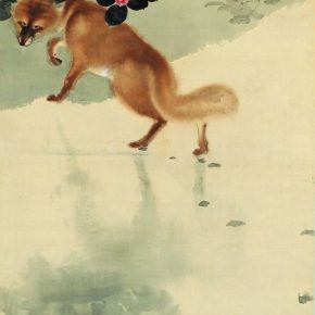 Zheng Jin, A Fox, scroll, ink and color on silk, 172x84cm, in the 1920s, in the collection of CAFA Art Museum