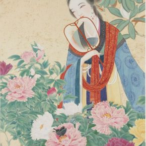 Zheng Jin, Contending in Beauty, ink and color on silk, 174.4×86.7cm, in the collection of the National Palace Museum in Taipei