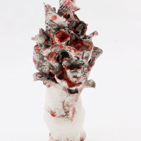 Renqian Yang, Bulge, 2019. Porcelain, fire to cone 6, electric kiln, 14.5 x 8 x 5.5 inches ©Renqian Yang, courtesy Fou Gallery.
