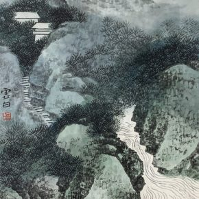 LI XUBAI, Landscape, 1995; Ink and colour on paper, 23x17cm