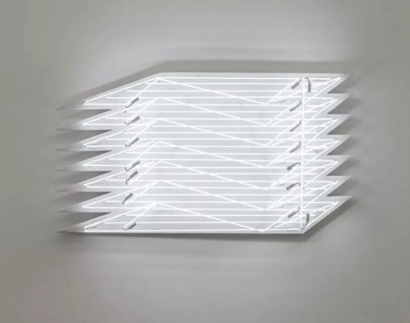 "Yang Mushi Illuminating 1 2018 Installation white neon tube iron sheet stone like coating 87.5x161.9x18cm 598x472 - Galerie Urs Meile Beijing presents ""Vanishing into Thin Air"" featuring the work by Yang Mushi"