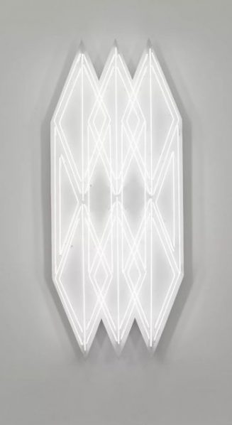 "Yang Mushi Illuminating 3 2018 Installation white neon tube iron sheet stone like coating 215.8x86.8x18cm 327x598 - Galerie Urs Meile Beijing presents ""Vanishing into Thin Air"" featuring the work by Yang Mushi"