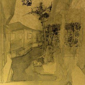 ZHANG LI, The Garden of Pleasure (Yi Yuan), 2012; Ink on gold paper, 40.5x38cm