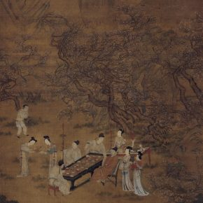 Attributed to Qiu Ying, Feasting in the Peach-plum Garden in Spring Night, Ming Dynasty; Ink and color on silk, 202cm×99cm
