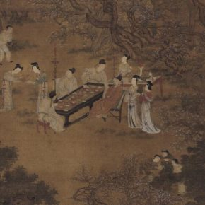 Attributed to Qiu Ying, Feasting in the Peach-plum Garden in Spring Night(details), Ming Dynasty; Ink and color on silk, 202cm×99cm; Collection of Beijing Fine Art Academy