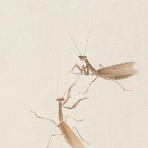 Qi Baishi, Two Mantises; Ink and color on paper, 69.5cm×35cm; Collection of Beijing Fine Art Academy