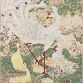 Zheng Jin, Peacock Family; Ink and color on silk, 232x115cm, Collection of Taipei Palace Museum