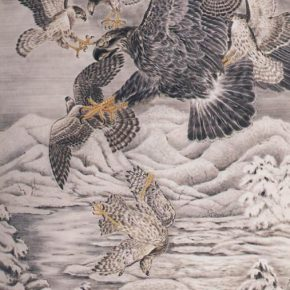 Zheng Jin, Eagles Fighting, 1937; Ink and color on paper, 122x240cm