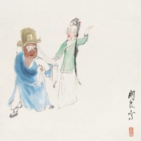 Guan Liang, Characters in Chinese Operas, 1953; Ink and color on paper, 34.5cm×35.5cm; Collection of Beijing Fine Art