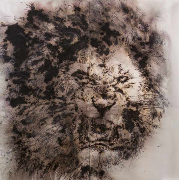 "Cai Guo Qiang Study for Pompeii Fierce Lion 2018. Gunpowder on canvas 300 x 300 cm. Photo by Yvonne Zhao courtesy Cai Studio. 596x598 - The National Archaeological Museum of Naples presents ""In the Volcano: Cai Guo-Qiang and Pompeii"""