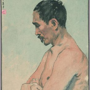 Li Hu, A Bust of Male Nude, 1944; Ink and color on paper, 37.6×30cm