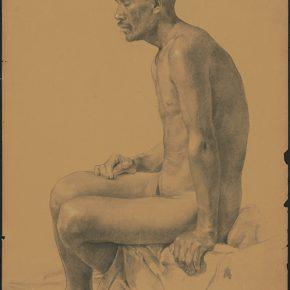 Li Hu, A Full Length Portrait of Male Nude, 1950s; charcoal pencils on paper, 72×52cm