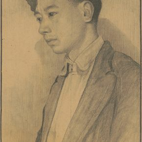 Li Hu, Self-Portrait II, 1940s; charcoal pencils on paper, 37.5×25.5cm