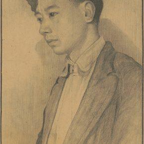 Li Hu, Self-Portrait II, 1940s; charcoal pencils on paper, 37.5×25.5cm