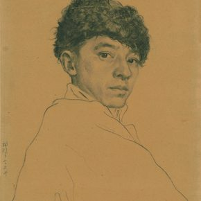 Li Hu, Self-portrait No. 7, 1950s; charcoal pencils on paper, 35.5×24.8cm