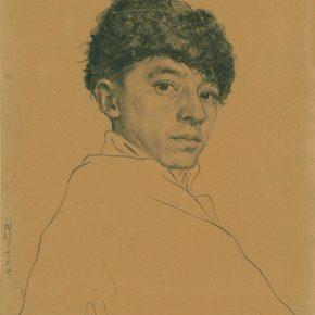 Li Hu, Self-portrait No. 7, 1950s; charcoal pencils on paper, 35.5×24.8cm