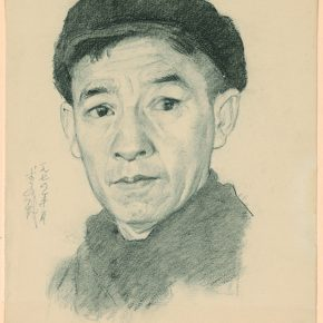 Li Hu, Self-portrait No. 9, 1974; charcoal pencils on paper, 33.8×27.2cm