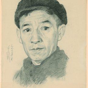 Li Hu, Self-portrait No. 9, 1974; charcoal pencils on paper, 33.8×27.2cm