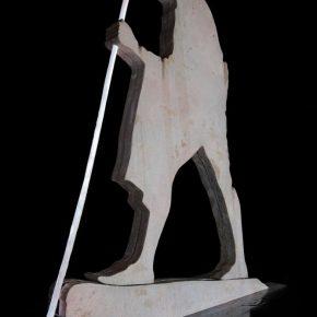 Doug Aitken, Crossing the Border, 2018; Choreographed light sculpture and synchronized water fountain fiberglass, steel, DMX pumps, LEDs, resin, polyurea, PVC-P, wood, stone