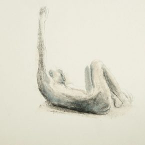 Bruno Walpoth, Untitled, 2018; Enamel and Oil Pastels, 70x50cm