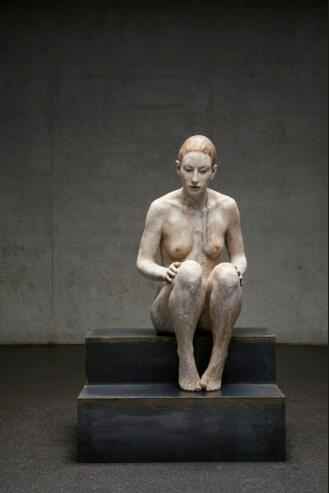 "Bruno Walpoth Sitting woman 2017 nut wood 105x50x54cm - CAFA Art Museum announces ""Mute Encounters: Bruno Walpoth"" opening on March 5"