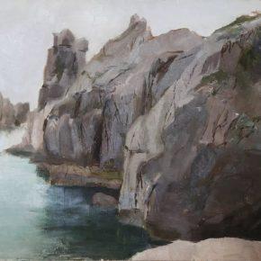 LIN YAN 林延 b. 1961 Cape 角, 1979 Oil on cardboard 纸板油画 39 x 54 cm