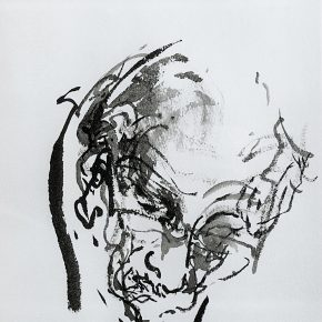 Maggi Hambling_Father painting 8th December 1997_Ink on paper_32x24cm_1997