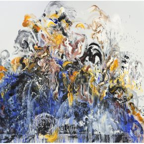 Maggi Hambling_Wall of water_blue and gold_Oil on canvas_183x214cm_2015