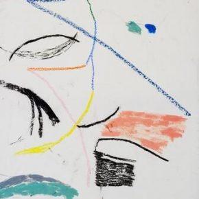 Max Huckle, Misfit, 2018; Oil Pastel, Charcoal on Linen, 155x111cm