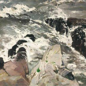 PANG TAO 庞涛 b. 1934 Breaking Waves 击浪, 1979 Oil on cardboard 纸板油画 53 x 75 cm