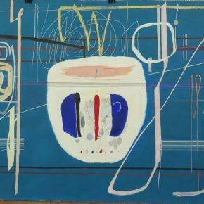 PANG TAO 庞涛 b.1934_Change of Color Gradation - Turquoise Tone I 色阶的变化—绿蓝调之一, 2017_Gouache and silk screening priting on paper 纸本水粉、丝网印刷_134 x 262 cm