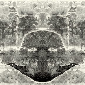 小林敬生 Keisei Kobayashi 日复升 绿色之星•8D Sunrises Again Illusional Planet•8D 图心 103.2x257.5cm 图纸 124x283cm 木口木刻版画 Wood Engraving 2008 290x290 - Right Place Right Time—Artworks by Keisei Kobayashi & Chen Qi will be presented at Asia Art Center