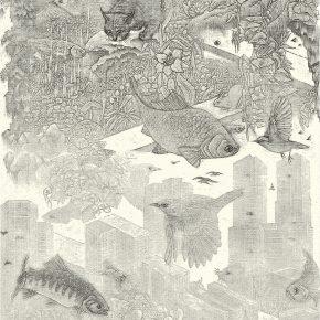 小林敬生 Keisei Kobayashi 早晨 群舞•04A At Daybreak•04A 图心 58x29.5cm 图纸 72.2x44.3cm 木口木刻版画 Wood Engraving 2014 290x290 - Right Place Right Time—Artworks by Keisei Kobayashi & Chen Qi will be presented at Asia Art Center