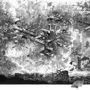 小林敬生 Keisei Kobayashi 苏醒时刻 群舞 94•10CTransferred Soul Gunbu 94•10C 图心 87.5x105.8cm 图纸 105.5x125.7cm 木口木刻版画 Wood Engraving 1994 290x290 - Right Place Right Time—Artworks by Keisei Kobayashi & Chen Qi will be presented at Asia Art Center