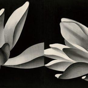 陈琦Chen Qi 双峰图 Dual Lotus 73x180cm 水印版画 Woodblock Print 2019 290x290 - Right Place Right Time—Artworks by Keisei Kobayashi & Chen Qi will be presented at Asia Art Center