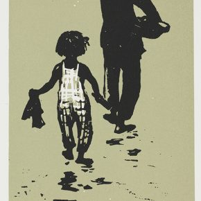 Song Yuanwen, Mother and Daughter, 1957; colored woodcut, 24×14cm