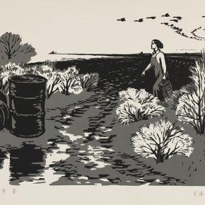 04 Song Yuanwen, Early Spring, 1963; woodblock printing, 55×36cm