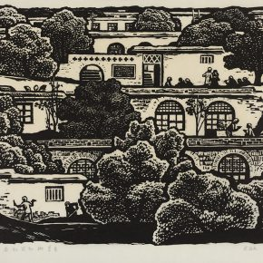 06 Song Yuanwen, How to Know Whose Peach and Plum are the Best, 1981; black and white woodcut, 45×60cm