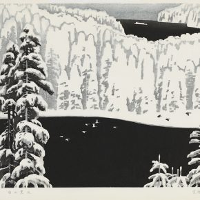 07 Song Yuanwen, The Landscape of Northeast China, 1981; black and white woodcut, 58×42cm