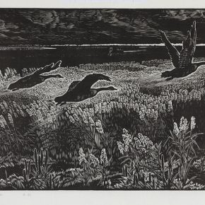 Song Yuanwen, The Sleepless Earth, 1979; black and white woodcut, 80×43cm