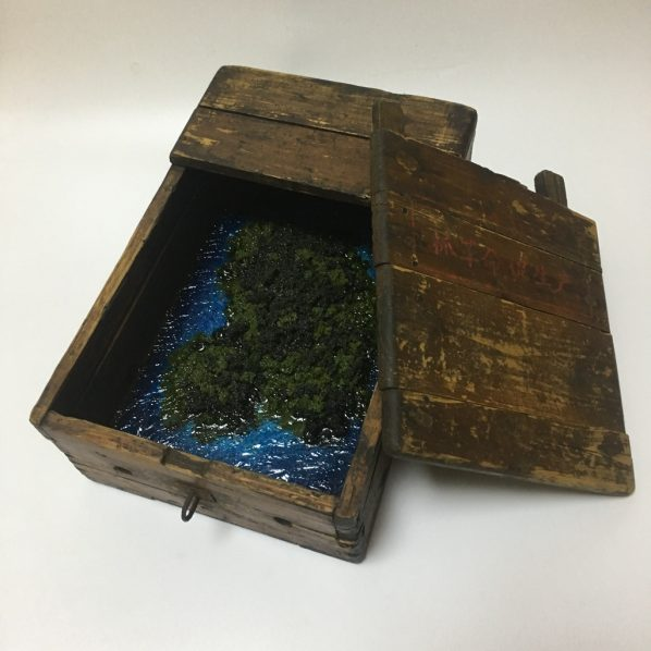 Hu Jing, The Room No.2, old money box, resin, grass powder, 18x28x10cm, 2018
