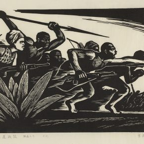11 Song Yuanwen, Equatorial Drum Series No. 3, 1965; black and white woodcut, 51×38cm