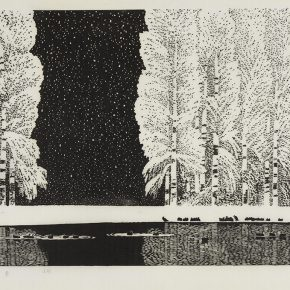 Song Yuanwen, Snow on the Spring River, 1998; black and white woodcut, 44.5×69.5cm