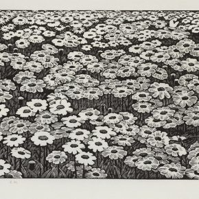 15 Song Yuanwen, Spring on the Grassland, 2008; black and white woodcut, 45×80cm