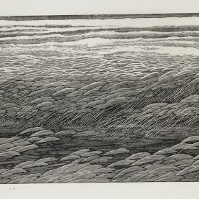 Song Yuanwen, Flowing Flowers on the Prairie, 2007; black and white woodcut, 40×80cm