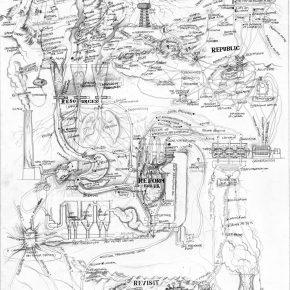 Qiu Zhijie, Map of Reactivation-Concept, 2012; Sketch, 79x54cm