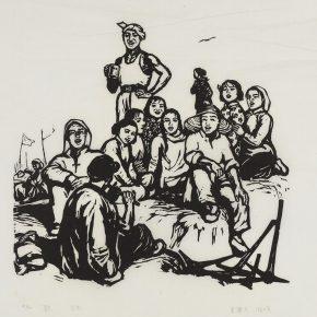 Song Yuanwen, Singing, 1960; black and white woodcut, 45×42cm