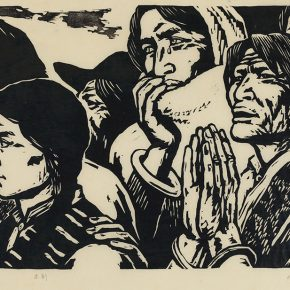 Song Yuanwen, Audience, 1981; black and white woodcut, 54×33cm